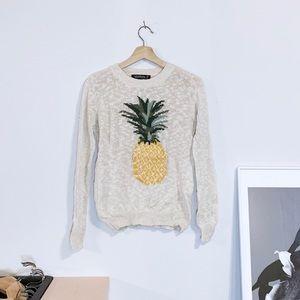 Beige Light Knit Pineapple Sweater